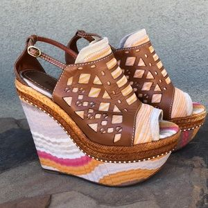 Missoni canvas platform wedge sandals